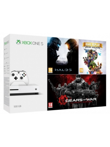 Игровая приставка Microsoft Xbox One S 500GB + Halo 5 + Rare Replay + Gears of War UE